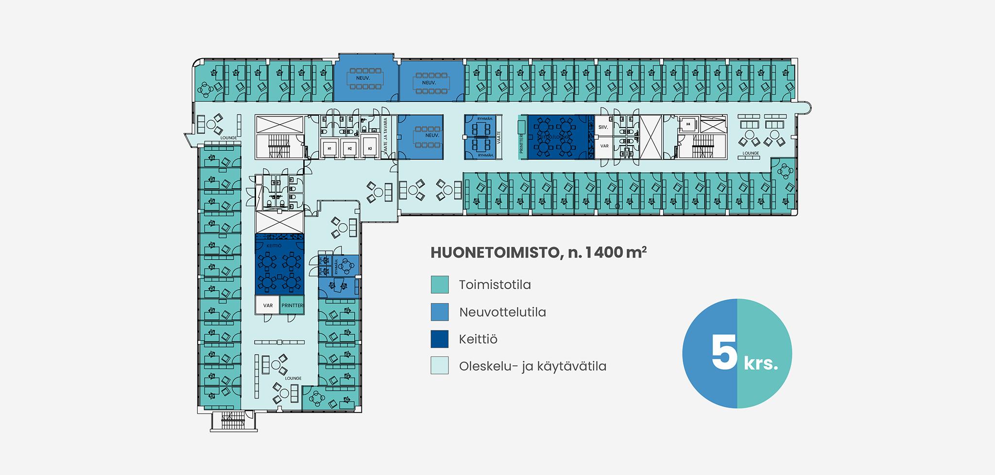 Pohjakuva 1400 neliömetrin huonetoimistosta Piispanportti 10:ssä