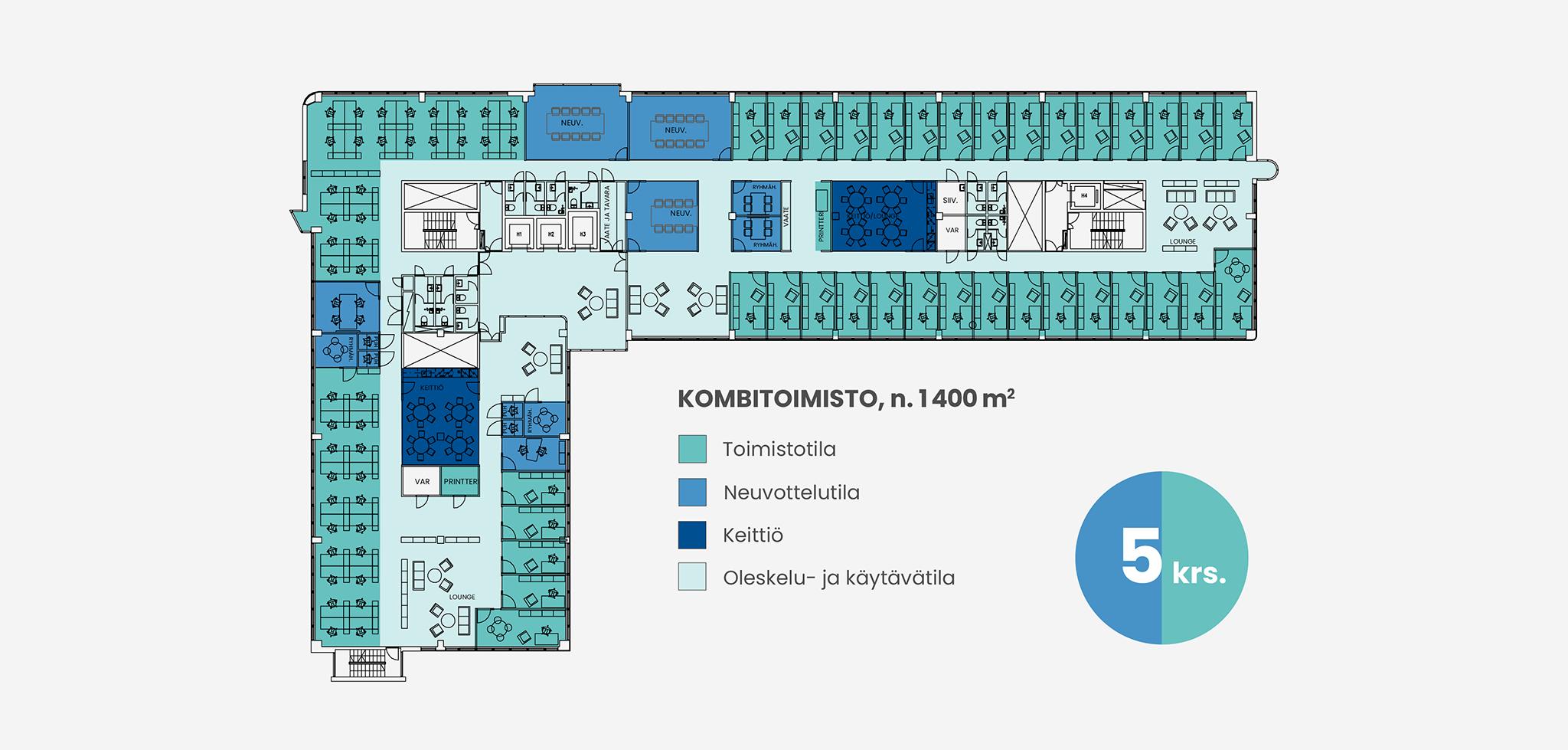 Pohjakuva 1400 neliömetrin kombitoimistosta Piispanportti 10:ssä