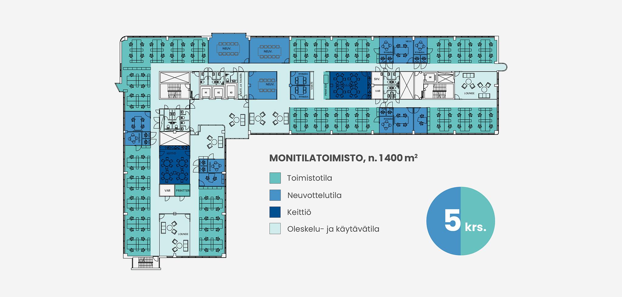 Pohjakuva 1400 neliömetrin monitilatoimistosta Piispanportti 10:ssä